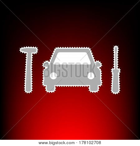 Car tire repair service sign. Postage stamp or old photo style on red-black gradient background.