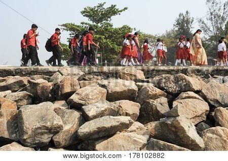 School Class In Uniform Walking In Row At Fort Cochin