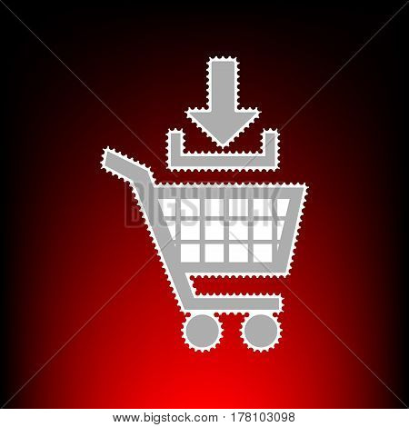 Add to Shopping cart sign. Postage stamp or old photo style on red-black gradient background.