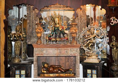 Fort Cochin, India - 16 January 2015: Indian statues on a shop of Fort Cochin on India