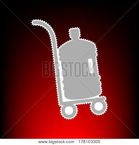Plastic bottle silhouette with water. Big bottle of water on track. Postage stamp or old photo style on red-black gradient background.