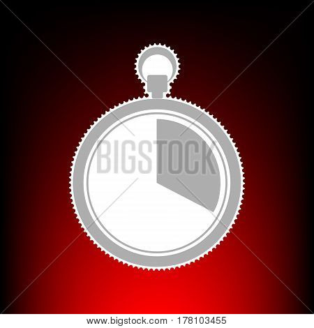 The 20 seconds, minutes stopwatch sign. Postage stamp or old photo style on red-black gradient background.