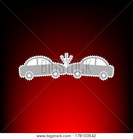 Crashed Cars sign. Postage stamp or old photo style on red-black gradient background.