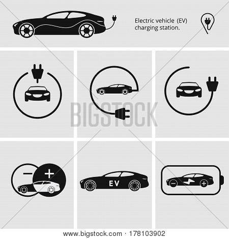 Vector illustration charging station for electric car. Icons pin point electric vehicle charging station. Isolated electric car.