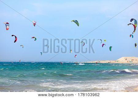 Kitesurfers on the Milos beach in Lefkada island Greece.