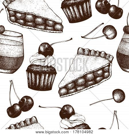 Vector seamless pattern with ink hand drawn cherry baking illustration. Vintage background with traditional cake, tart and pie sketch. Bakery menu on chalkboard. Top view.