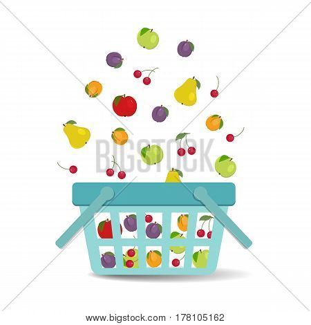Fruits falling into the basket. There is a plum, a cherry, an apricot, apples in green and red colors, a pear in the picture. Raster copy.