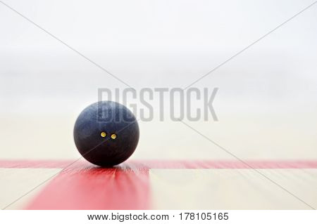 squash ball on the wooden background. Racquetball equipment. Squash ball on the court on the red line. Photo with selective focus and copy space