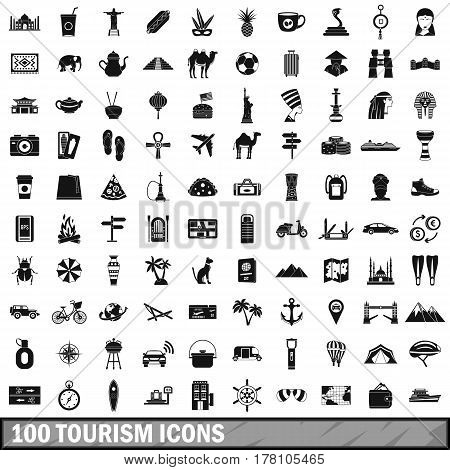 100 tourism icons set in simple style for any design vector illustration