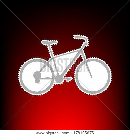 Bicycle, Bike sign. Postage stamp or old photo style on red-black gradient background.