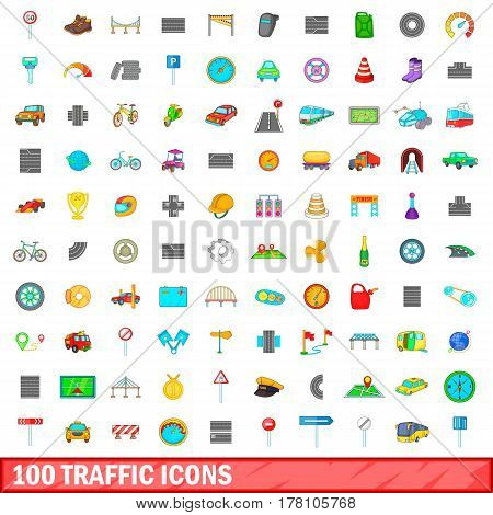 100 traffic icons set in cartoon style for any design vector illustration