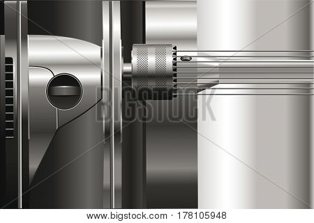 Silver background with mechanical details.  Metallic luster. Wallpaper.