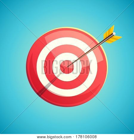 Target icon. Vector illustration in retro cartoon style