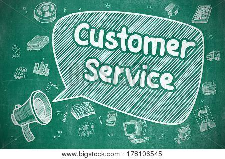 Customer Service on Speech Bubble. Hand Drawn Illustration of Screaming Horn Speaker. Advertising Concept.
