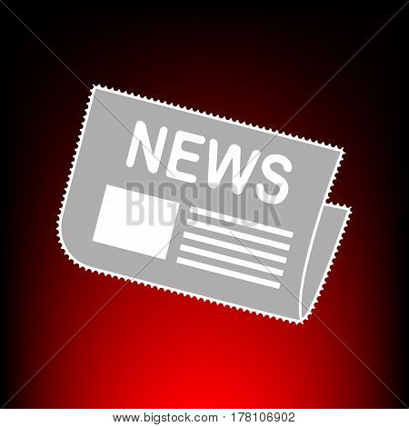 Newspaper sign. Postage stamp or old photo style on red-black gradient background.