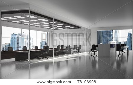 Modern empty elegant office with windows and workplaces. Mixed media