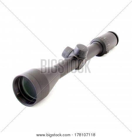 sight scope isolated on white. Hunting rifflescope.