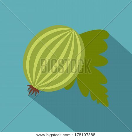 Fresh green gooseberry with leaves icon. Flat illustration of fresh green gooseberry with leaves vector icon for web isolated on baby blue background