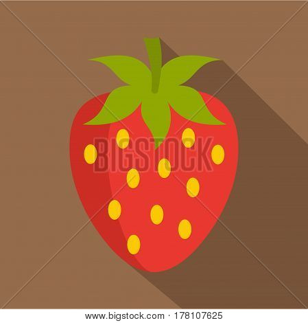 Red fresh strawberry icon. Flat illustration of red fresh strawberry vector icon for web isolated on coffee background