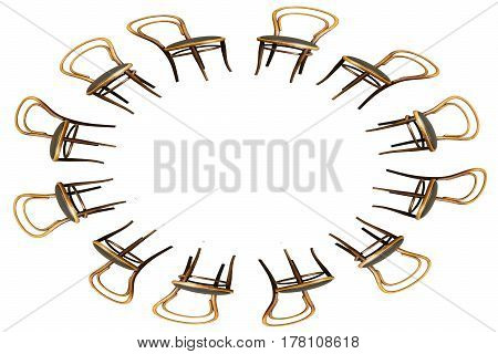 Oval Frame of Antique Bentwood Viennese chair isolated on white.