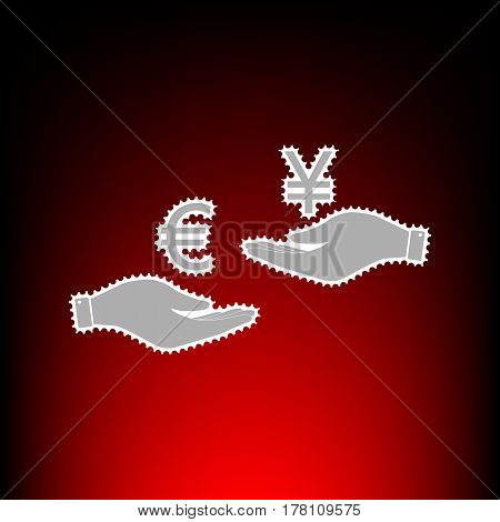 Currency exchange from hand to hand. Euro and Yen. Postage stamp or old photo style on red-black gradient background.