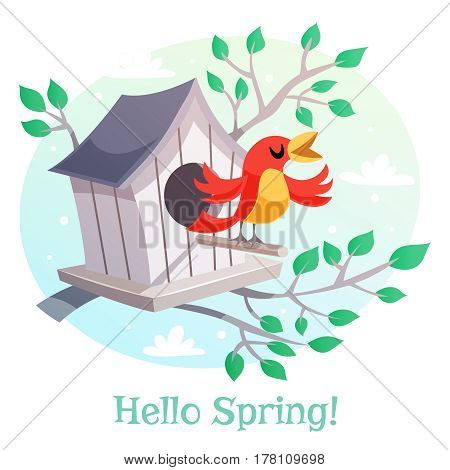 Hello Spring poster. Birdhouse and a singing bird. Vector illustration in retro
