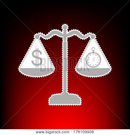 Stopwatch and dollar symbol on scales. Postage stamp or old photo style on red-black gradient background.