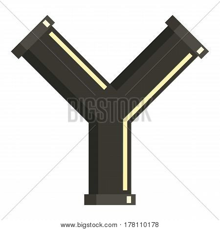 Y joint pipe icon. Flat illustration of Y joint pipe vector icon for web isolated on white background
