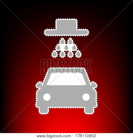 Car wash sign. Postage stamp or old photo style on red-black gradient background.