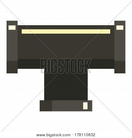 Black joint T pipe connection icon. Flat illustration of black joint T pipe connection vector icon for web isolated on white background