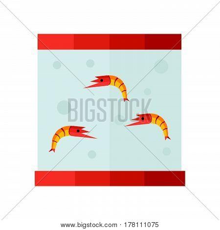 yellow shrimp in tank vector vector design support eps 10.
