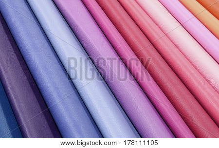 Background Of Colourful Fabrics In Leather In The Shop
