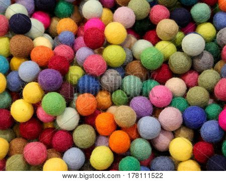 Background Of Many Felt Balls