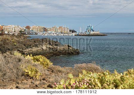 Las Galletas Harbor In Tenerife, Spain