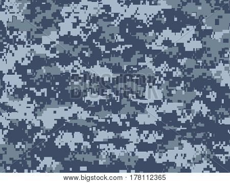 Vector texture of blue pixels camouflage used by the marines