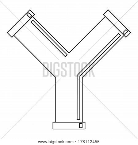 Industrial pipe alphabet letter Y icon. Outline illustration of industrial pipe alphabet letter Y vector icon for web