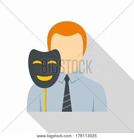 Businessman holding fake mask smile icon. Flat illustration of businessman holding fake mask smile vector icon for web isolated on white background