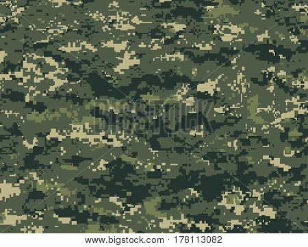 Vector texture of dark green pixels camouflage for the forest