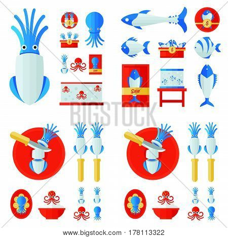 infographic Squid And Sea Food Set vector design support eps 10.