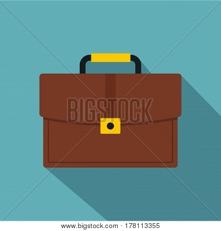 Brown business briefcase icon. Flat illustration of brown business briefcase vector icon for web isolated on baby blue background