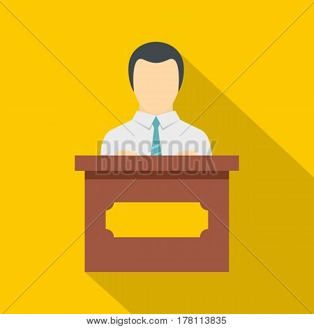 Public speaker icon. Flat illustration of public speaker vector icon for web isolated on yellow background