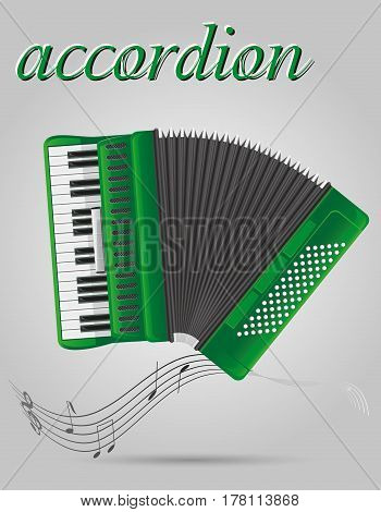accordion musical instruments stock vector illustration isolated on gray background