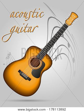 acoustic guitar musical instruments stock vector illustration isolated on gray background