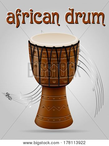 african drum musical instruments stock vector illustration isolated on gray background