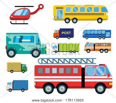 Transport delivery vector trucks isolated on white. Transportation cars, bus, truck, van, fire truck, city cars, helicopter, van truck. Delivery van vector silhouette. Vector car icons