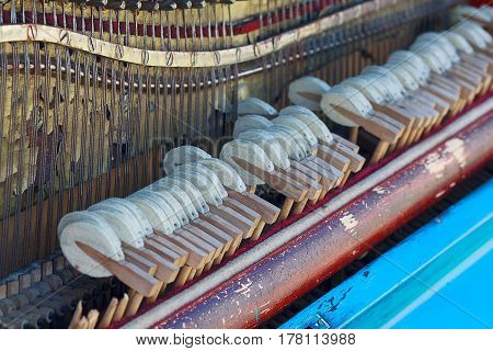 Internal arrangement of the old piano. Musical instruments