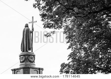 Statue of Vladimir The Great in Kiev Ukraine back view in black and white with copy space. Saint Vladimir is the baptizer of Kievan Rus