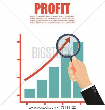 Hand with a magnifying glass. Profit concept for business project