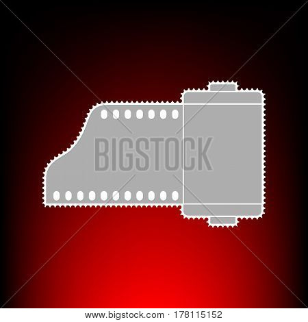 Foto camera casset sign. Postage stamp or old photo style on red-black gradient background.