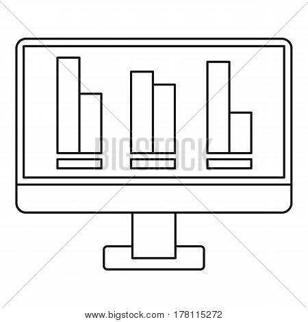 Growing business graph at computer screen icon. Outline illustration of growing business graph at computer screen vector icon for web